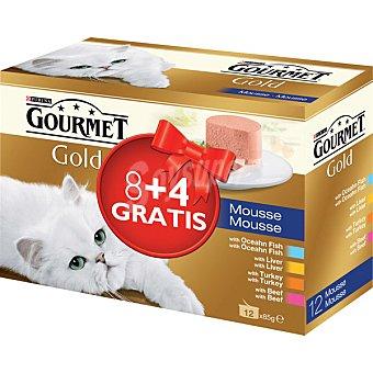 Gourmet Purina Surtido de mousses para gato gold mousse 8 unidades de 85 g + 4 gratis