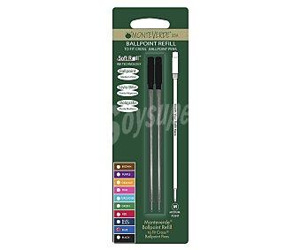 Monteverde Set de 2 recambios de punta tipo roller de grosor medio, con tinta líquida de color azul y compatibles con cualquier bolígrafo fit cross con punta del tipo roller 1 unidad
