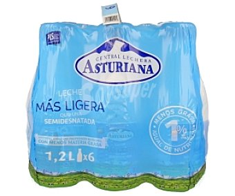 Central Lechera Asturiana Leche Semidesnatada Pack de 6 botellas x 1,2L