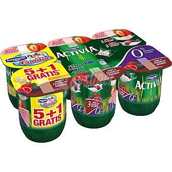 Activia Danone Yogur desnatado 3 sabor fresa + yogur desnatado 3 sabor frutas del bosque pack 5 unidades 125 g + 1 gratis Pack 5 unidades 125 g
