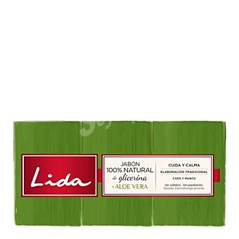 Lida Jabón tocador natural de glicerina con aloe vera Pack 3x125 g