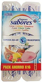 Hacendado Yogur sabor (2 GALLETA,2 VAINILLA,2 FRESA,2 PLATANO,2 FRAMBUESA,2 COCO,2 LIMON,2 piña) Pack 16 x 125 g - 2 kg