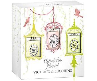 Victorio & Luccino Estuche de mujer Capricho floral con 3 colonias (azahar, Magnolia y Rosa) 30 ml