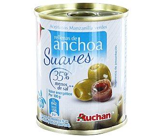 AUCHAN Aceitunas de manzanilla verdes rellenas de anchoas suaves (35% menos de sal) 150 gramos