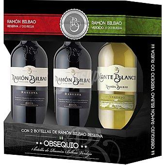 Ramón Bilbao Vino tinto reserva D.O. Rioja Estuche 2 botellas 75 cl + regalo de Monte Blanco vino blanco verdejo botella 75 cl Estuche 2 botellas 75 cl