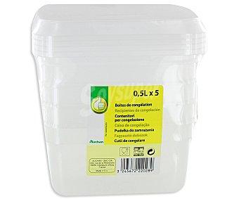 Productos Económicos Alcampo Lote de 5 recipientes de plástico transparente con tapa, 0,5 litros. Resistentes hasta 100ºC 1 Unidad