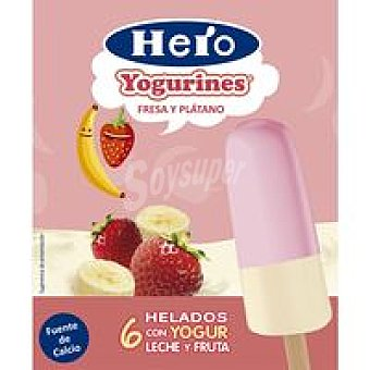 HERO Polos yogur fresa plátano doble avellana 6x60ml