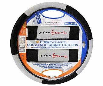 ROLMOVIL Cubre Volante Más Almohadillas Protectoras de Cinturón de Seguridad de Color Negro/Gris, Modelo Confort 3 Unidades
