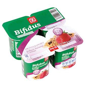 DIA Yogur bífidus con fresa-cereales 0% Pack 4 unidades 125 g