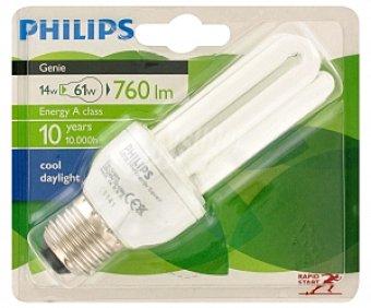 Philips Bombilla Genie tubo ahorradora 14W, luz fría, vida útil estimada 8 años, E27 1u