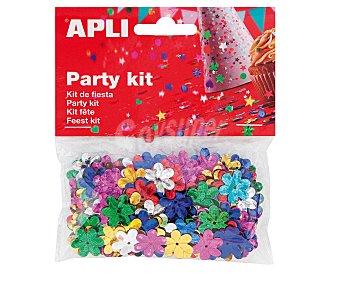 APLI Bolsa kit de fiesta, lentejuelas con forma de flores de colores de 13 milímetros, 14 gramos 14g