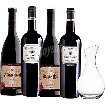 GRAN ALBINA Vino tinto reserva D.O. Rioja +Monte Real vino tinto gran reserva con decantador de regalo 2 botellas de 75 cl