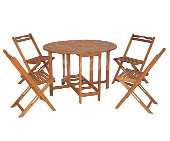 Ploos Conjunto de mesa oval, con alas abatibles y ruedas de 110X90X74, 4 sillas plegables, que se guardan debajo de la mesa de 48.5x42x77 centímetros, modelo Korfu, de madera de Acacia 100% FSC 1 unidad