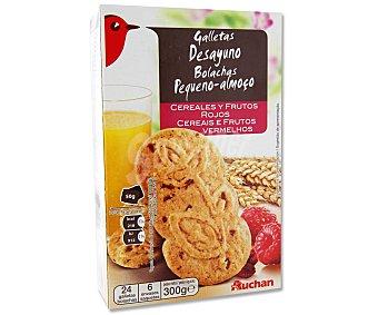 Auchan Galletas con cereales y frutos rojos 300 gramos
