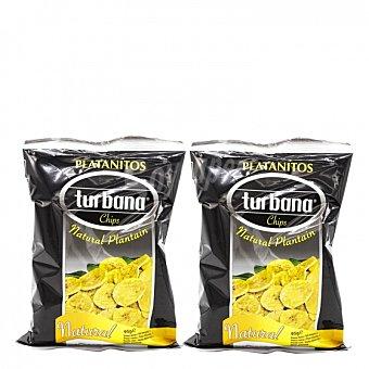 Turbana Snacks plátano natural Pack de 2 bolsas de 95 g