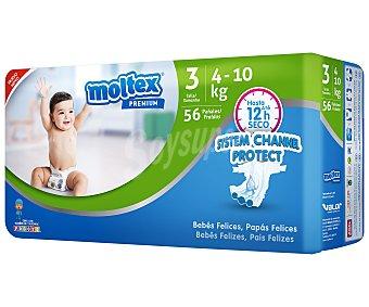 Moltex Premium pañales de 4 a 10 kg talla 3 bolsa 56 unidades