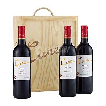 Cune Estuche madera con 3 botellas de vino d.o.ca. Rioja 75 cl