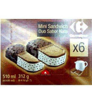 Carrefour Helado mini sandwich sabor nata 6 ud
