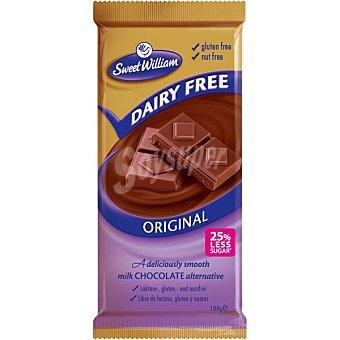 Sweet william Dairy Free chocolate con leche sin gluten, sin lactosa y con 25% menos de azúcar Tableta 100 g