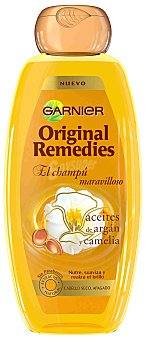 Original Remedies Garnier Champú maravilloso con aceites de argán y camelia para cabello seco y apagado frasco 400 ml Frasco 400 ml
