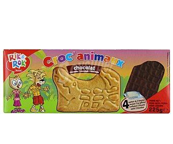 Rik&Rok Auchan Galletas con forma de animales cubiertas con chocolate negro 225 gramos