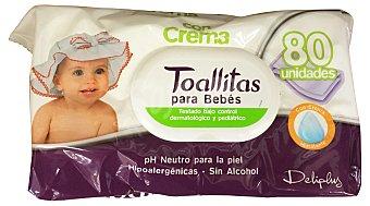 DELIPLUS Toallitas húmedas bebé con crema hidratante y aloe vera (nuevo perfume) Paquete de 80 unidades