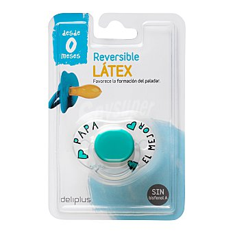 Deliplus Chupete latex reversible de 0 a 6 meses color azul 1 unidad