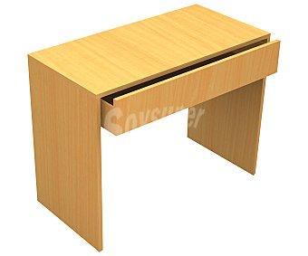 SEVENON Mesa de escritorio de aglomerado con acabado en melamina, con 1 cajón y de color haya, medidas de 73x110x56 centímetros (alto x ancho x fondo) Home