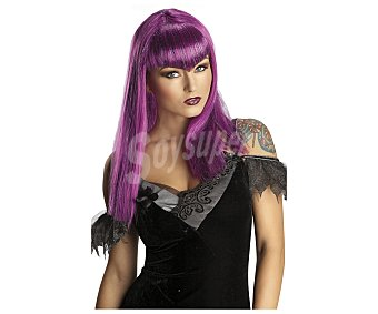 HAUNTED HOUSE Peluca color lila para adulto, complemento para disfraz de vampiresa, Halloween Peluca vampiresa lila