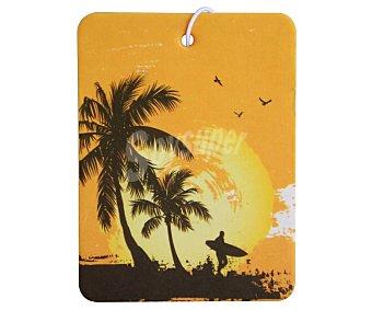 Productos Económicos Alcampo Ambientador de coche para colgar, con olor a coco y dibujo de un surfista en una playa caribeña alcampo