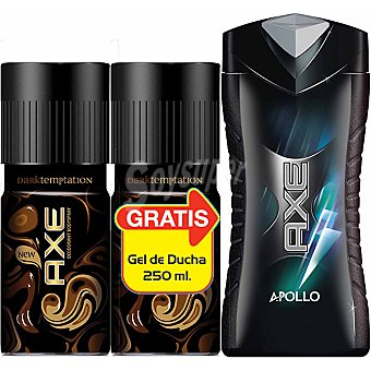 AXE desodorante Dark Temptation + regalo gel de baño Apollo frasco 250 ml pack 2 spray 150 ml