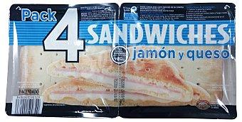 Hacendado Sandwich mixto plancha (jamon cocido y queso) Paquete pack 4 x 120 g - 480 g