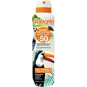 Babaria Bruma protectora Tropical para pieles sensibles FP-50 resistente al agua spray 200 ml spray 200 ml