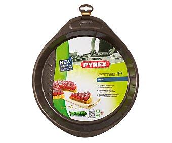 PYREX Molde redondo para tartas fabricado en acero carbonatado con recubrimiento antiadherente rugoso para horno, modelo Asimetria, 30 centímetros de diámetro 1 unidad