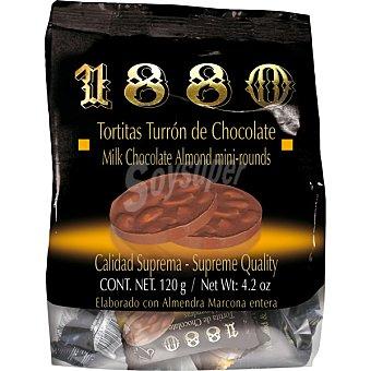 1880 Tortitas de turrón de chocolate con almendra Marcona enteras Estuche 100 g