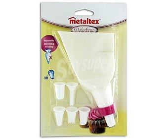 METALTEX Manga repostera reforzada + 6 boquillas de diferentes grosores y formas 1 Unidad