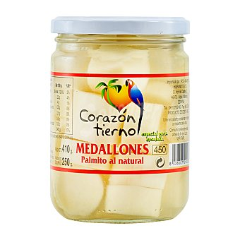 Corazon Tierno Palmitos al natural medallones conserva Tarro 410 g escurrido 250g