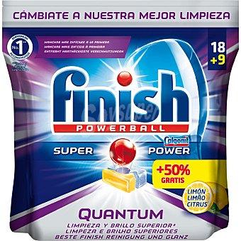 Finish Detergente lavavajillas Super Power Quantum limon bolsa 18 pastillas Bolsa 18 pastillas
