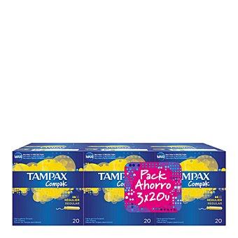 Tampax Tampón Compak regular pack de 3x20 ud