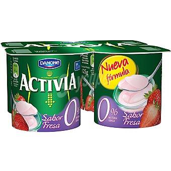 Activia Danone Yogur desnatado 0% materia grasa sabor fresa Pack 4 unidades 125 g