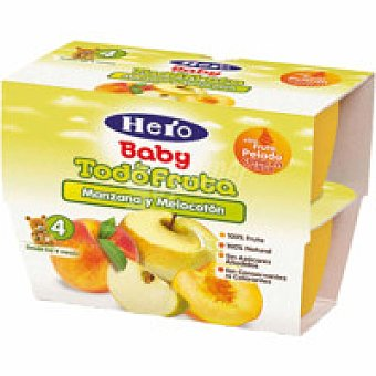 Hero Postre de melocotón-manzana Pack 4x100 g