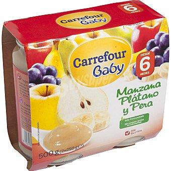 Carrefour Baby Tarrito manzana, plátano y pera Pack 2x250 g