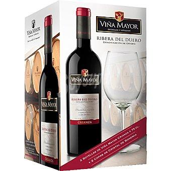 VIÑA MAYOR vino tinto crianza + 2 copas de cristal de bohemia estuche 2 botellas 75 cl