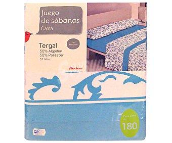 Auchan Juego de sábanas etampadas, modelo Robledo en tonos turquesa para cama de 180 centímetros, 1 unidad