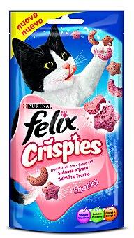 Purina Felix Snack Crispies para gatos adultos salmón y trucha Bolsa 45 g