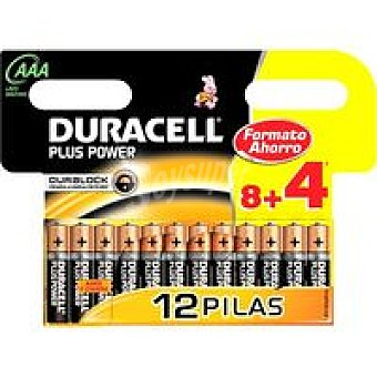 AAA + Power DURACELL Pila alcalina Pack 8+4 unid