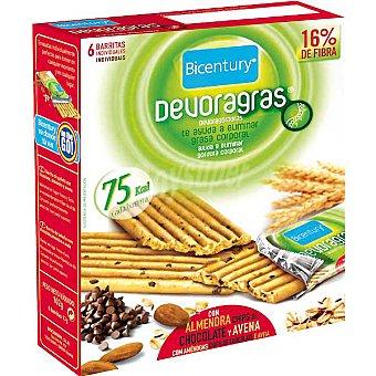 Bicentury Galletas en barritas con almendra chips chocolate y avena Devoragras 6 unidades (estuche 136 g)