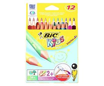 Bic Caja con 12 lápices para colorear, con mina extra dura y cuerpo triangular 1 unidad