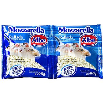 Albe Queso mozzarella rallado Pack 2 envases 90 g
