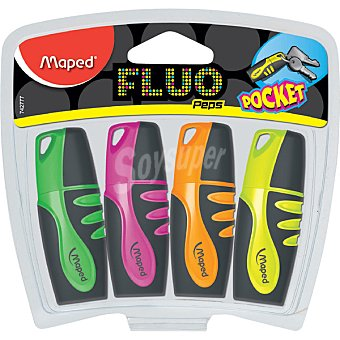 MAPED  fluorescentes pocket en colores variados pack de 4